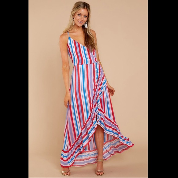 Red Dress Boutique Dresses & Skirts - Red Dress Boutique Red White Blue Stripe Wrap Maxi